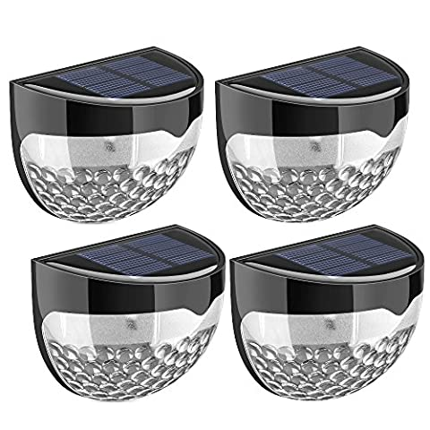 (4 Pack) Solar Lights, TopElek 6 LED Solar Powered Security Lights,Waterproof Outdoor Solar Powered Wireless Sensor Fence Light for Garden, Patio, Fence, Yard, Pathway, Hall, Driveway, Garage, Stairway, Gate, Wall (Built-in rechargeable Ni-MH