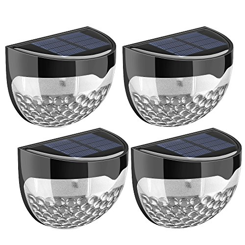 Solar Fence Lights, TopElek 4 Pack Decorative Lights Garden Lights, 6 LED Waterproof Solar Lights Outdoor Wireless Sensor Fence Lights for Patio, Fence, Yard, Garden, Garage, Stairway, Gate, Wall
