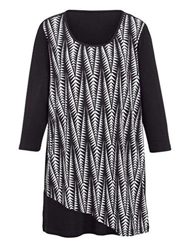 Damen Longshirt mit einfarbigem Einsatz vorne by MIAMODA Schwarz/Weiß