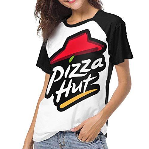 Damen Pizza Hut Logo Basic Tee Shirts Sommer T-Shirt Kurzarm T-Shirt Rundhals Baumwolle Sport Tops Schwarz Schwarz XL -