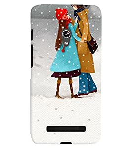 Printvisa Mother Daughter In Snowfall Back Case Cover for Asus Zenfone 5::Asus Zenfone 5 A500CG
