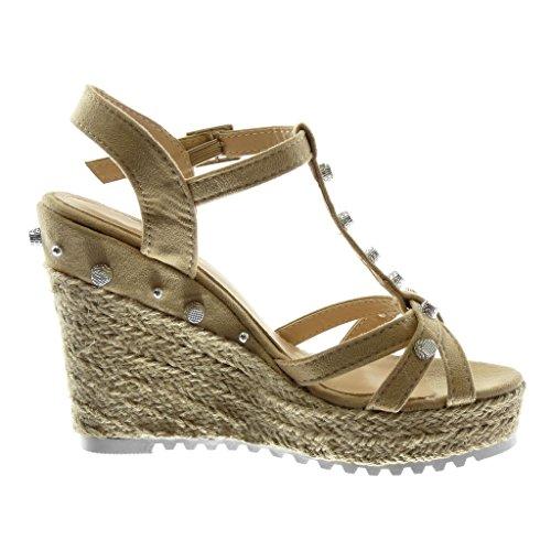Angkorly Chaussure Mode Sandale Mule Lanière Cheville Salomés Plateforme Femme Clouté Multi-Bride Corde Talon Compensé Plateforme 11.5 CM Beige