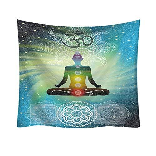HAIJIAO7HAO Indische Mandala Tapisserie Figur Von Buddha Gedruckt Tapisserie Wandbehang Strand Werfen Matte Hippie Tagesdecke Yoga Matte Decke