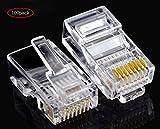MINGZE 100 Stücke RJ45 CAT5 CAT5E CAT6 Netzwerkkabel LAN Crimp Stecker 8P8C UTP Gold Überzogene Ethernet-Kabel Kristall Kopf