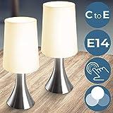 Tischlampe mit Dimmer Touchfunktion | 1er oder 2er Set, E14, Touch Dimmbar | Nachttischlampe, Berührungssensor Tischleuchte, Nachttisch-Leuchte | für Wohnzimmer, Schlafzimmer, Kinderzimmer