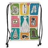 Fashion Printed Drawstring Backpacks Bags,Wedding Decorations,Vintage Poster Style Framework Wedding Collection Dresses Cake Flowers,Multicolor Soft Satin,5 Liter Capacity,Adjustable String Closur
