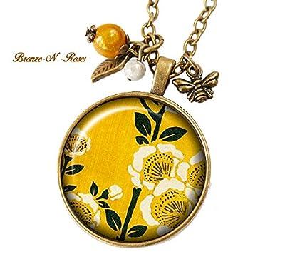 Collier Fleurs cabochon bronze jaune citron asie japon