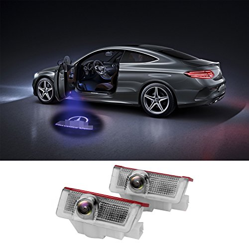 LiDiwee Kit luci LED sportello Logo 3D proiettore auto portiere 5wat per Benz Classe A B C E M GL 4MATIC Senza Modifi (2 set)