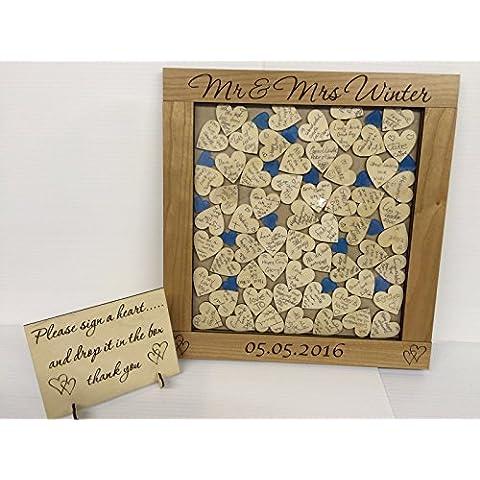 Personalizzato–Ciliegio Blu a forma di cuore scatola libro degli ospiti per matrimonio anniversario compleanno rustico Keepsake Shabby Chic, Legno, Blue, 56 hearts 36x34cm