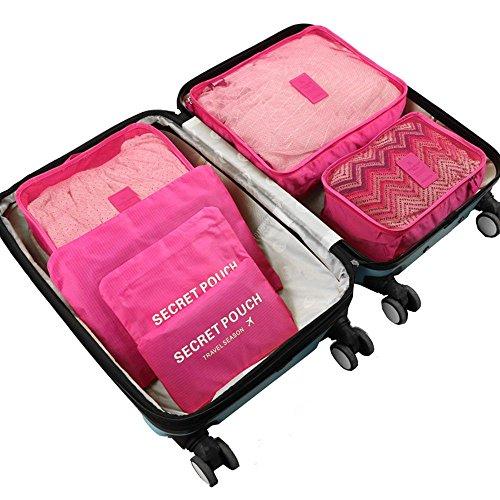 HuntGold 6 Stück Wasserdicht Spielraum Speicher Beutel Freienkleidung Würfel Verpackung Behälter Pink