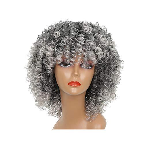 Lange Rot Schwarz Afro Perücke verworrene lockige Perücken für schwarze Frauen Blonde Mixed Brown 250G synthetische Perücken,642-Gray,18inches