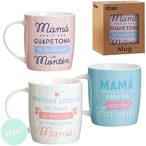 taza del dia de la madre Dcasa - Set 3 taza ceramica MAMÁ regalo original para dia madre