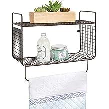 mDesign Repisa de baño – Estante de pared con dos baldas para guardar  champú f4bb8ee84646