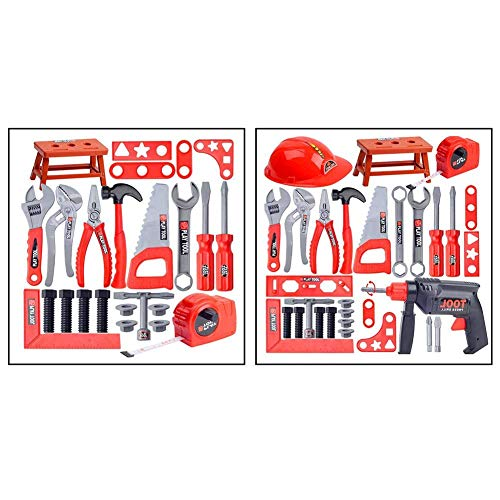 CWeep Children''s Simulation Repair Tool Set Toy, Simulation Repair Tool Drill Screwdriver Repair Kit House Play Toolbox Set Puzzle Toys for Boy and Girl Mlec (31 Sets + Hand Drill) - Tool House Kit