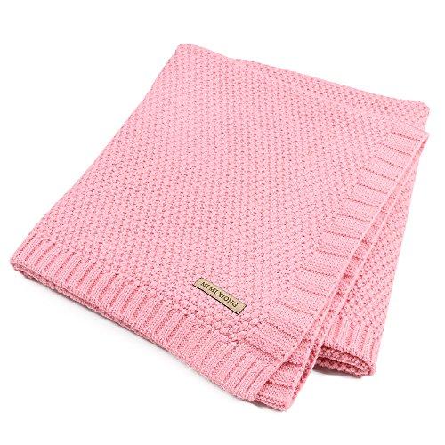 Per Organic Cotton Knitted Baby Decke Swaddle Empfangen Decken für Neugeborene Jungen Mädchen Kinder(Rosa)