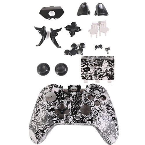 Generic Skull Full Housing Shell Case Replacement Kits for Xbox One Controller White