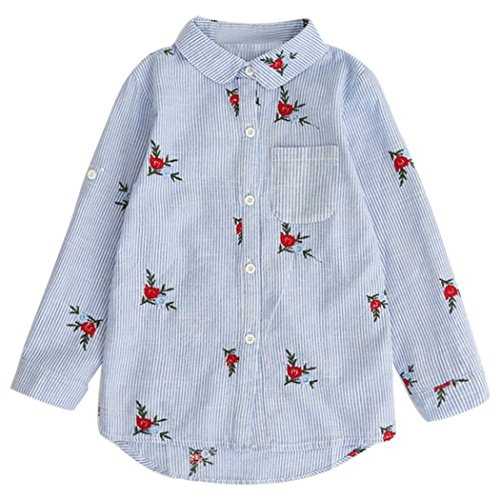 LCLrute Lovely Mode Kinder Baby Mädchen Shirts Herbst Bluse Tops Blumen Stickerei Striped Outfits (140, Blau) (Rosa Batgirl Kind Kostüme)