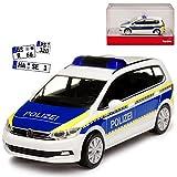 Volkwagen Touran II Polizei Brandenburg Weiss Ab 2015 H0 1/87 Herpa Modell Auto mit individiuellem Wunschkennzeichen