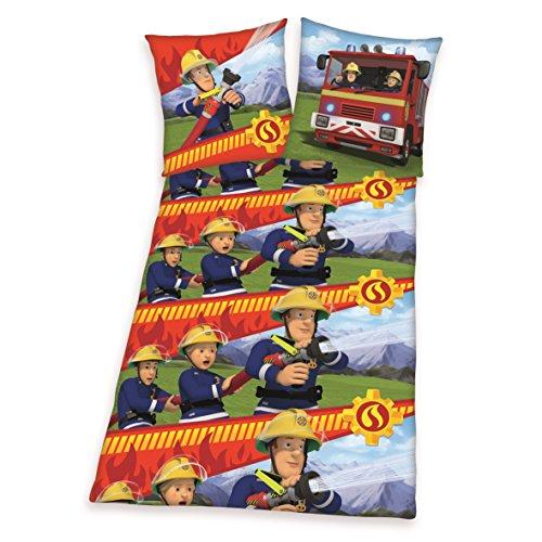feuerwehrmann sam bettwaesche flanell Herding Bettwäsche-Set Feuerwehrmann San, Flanell, Mehrfarbig, 200 x 135 cm