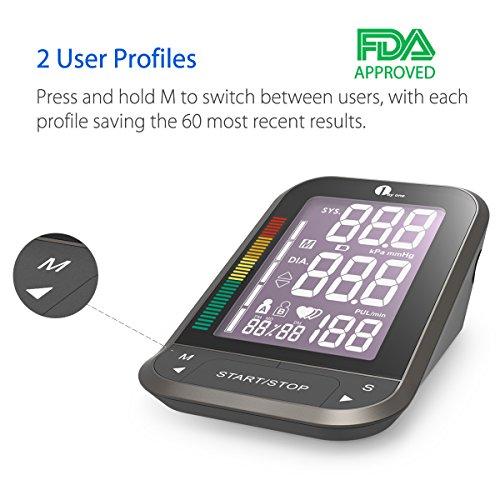 1byone medidor de presión arterial de brazo con LCD retro iluminado fácil de leer una talla para todos los brazos estuche de almacenamiento de nylon negro