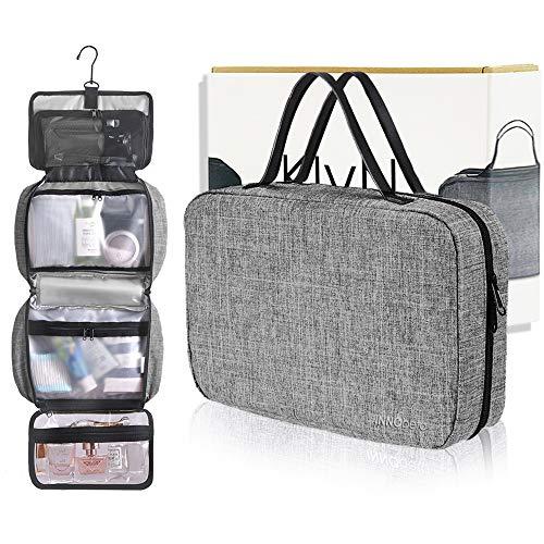 INNObeta KlyN kulturtasche, kulturbeutel zum Aufhängen für Frauen und Mann,Kosmetiktasche kosmetikbeutel für Damen und Herren,Waschtasche Waschbeutel für Geschäftsreise, Reisen (Grau)