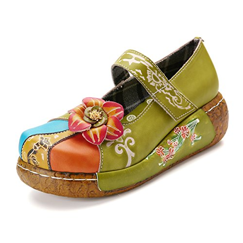 Gracosy sandali con zeppa donna pelle scarpe estivi comfort piattaforma scarpe mary jane da donna scarpe donna floreale sandali donna ragazze infradito scarpe basse