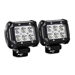 Nilight 2x 18W 1260LM CREE LED Spot guida Fendinebbia LED lavoro luce bar staffa di montaggio per SUV Barca 4x 4 lampada, 2anni di garanzia
