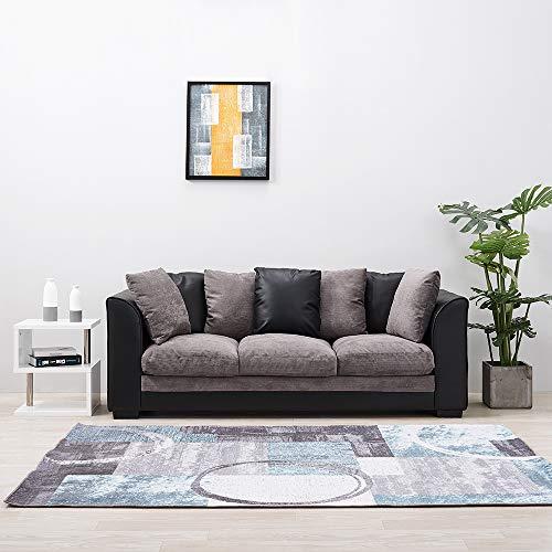 Anaelle Panana Canapé d'angle Sofa Moderne en Chenille + PU Cuir 3 Places pour Salon, Bureau, 204 x 72 x 80 cm (Noir+Gris)