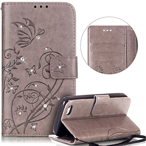 Cover iPhone 5C, Flip Portafoglio Cover in Pelle + Morbida Custodia in Silicone TPU, Surakey Multifunzionale Full Body Protettiva Bumper iPhone 5C Custodia Wallet in PU Leather con Glitter Strass Diam Grigio