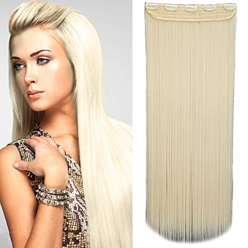 One piece clip in hair extension capelli una fascia capelli lunghi lisci 3/4 full head larga 25cm lunga 65cm vari colori, biondo platino