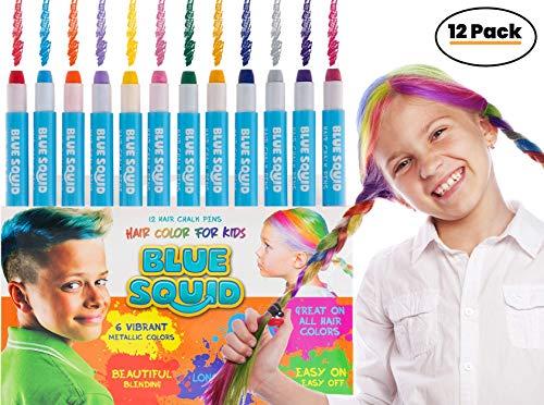 Haarkreide für Kinder Haarfarbe- 12 x Lebendige und Auswaschbare Temporäre Haarfarbe für Mädchen & Jungen - Haarfärbe Stifte Set - Für Dunkle oder Blonde Haare - Ungiftig - Hautschonend