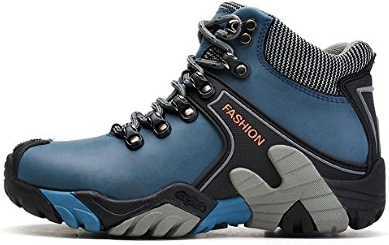 Suetar Unisex Mode Leder Wanderstiefel Herbst und Winter Wärme Kaschmirfutter Kletterstiefel Wasserdichte Rutschfeste