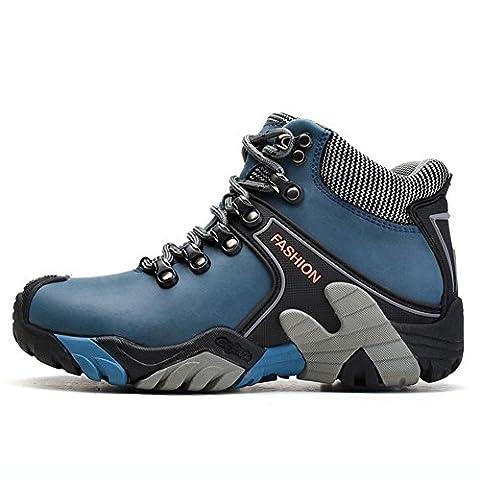 Bottes de randonnée en cuir véritable pour hommes Chaussures de sport en plein air gardez les baskets chauds, trempage antidérapant anti-dérapant camping d'escalade Mountaineering boots male , blue , 44