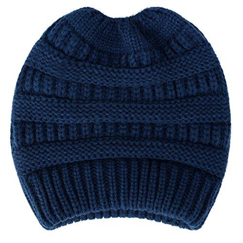 Dafunna Damen Winter Strickmütze mit Bommel Bommelmütze Beanie Damen Ski Mütze Wollmütze Warm mit Zopfmuster Ohrenschutz (Blau Damen Mädchen)