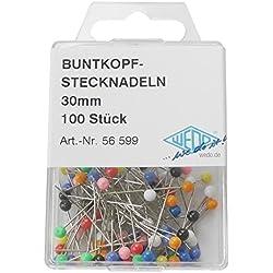 Wedo 56599 Buntkopf Stecknadeln (Kopfdurchmesser 3 mm, Nadellänge, 30 mm) 100 Stück, sortiert, farbig
