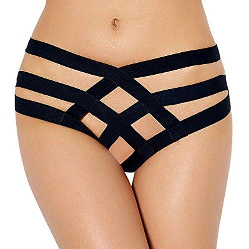 CICIYONER Damen Sexy Bandage Crotchless Schlüpfer V-String Dessous (Frau Katze Kostüme Baby)