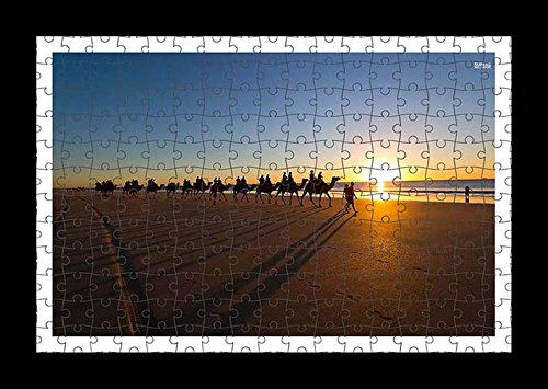 puzzle-style-pre-assembled-wall-print-of-camel-caravan-on-the-sandy-beach-by-lisa-loft