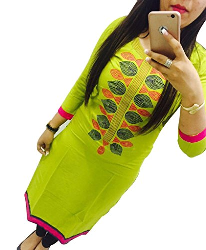 Green Georgette Embroidered Un-Stitched Straight Kurti  available at amazon for Rs.419