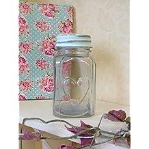 Vaso di vetro con Heart & coperchio dolce Pot Vintage Chic Wedding Decorazione della tavola