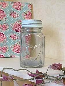 Pot en verre avec le coeur et couvercle doux Pot Vintage Chic Wedding Table Décoration