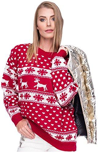 Loomiloo Damen Sweater Sweatshirt Pullover Merry Christmas Rentier Weihnachten Pulli (OneSize, Rentier Rot)