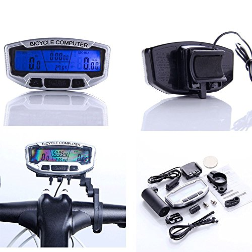 RETYLY RETYLY (R) LCD Fahrrad Rad Computer Kilometer Zaehler Velometer mit Hintergrundbeleuchtung Avs-7 Schalter
