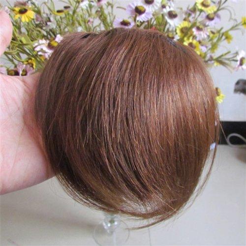 20,3 cm Ash Brown (# 08) Vrais Cheveux Humains Cheveux Fashion avant Neat Bang franges One cheveux
