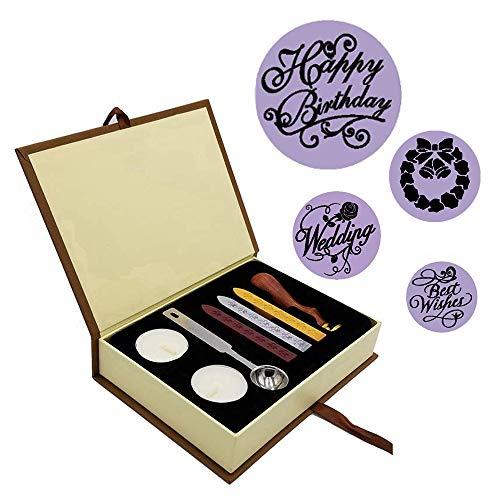 EAHUHO Wachs Siegel Stempel Kit Weihnachten Hochzeit Siegellack Karten Geschenk
