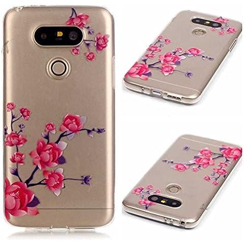 LG G5 Funda Carcasa AOFad Slim Dibujo Transparente TPU Con Flor Suave Serie Apropiado para Mujeres Hombres Case 5.3