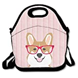 Kailey hello Cute Corgi with A Red Glass Neoprene Lunch Bag -Lunch Tote for Women,Kids,Adults