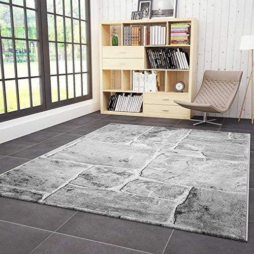 Vimoda tibet7413 classico soggiorno tappeto, molto dich tessuto, pietra muro ottica, qualità top - grigio, grigio, 120 x 170 cm