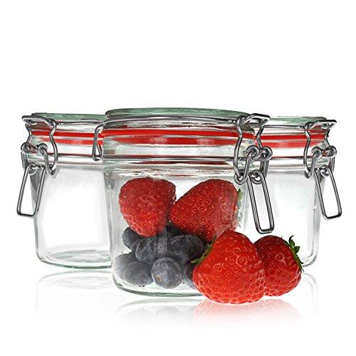 Draht-Bügel-Gläser je 200ml, 3 Stück im Set, Einmach-Glas / Aufbewahrungsglas mit Bügel-Verschluss und Gummi-Dichtung luftdicht, Schnapp-Glas zum Konservieren von Lebensmitteln - Marke YOUZiNGS