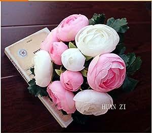 Mazzo Bouquet Camelia Fiore Seta Per Sposa Decorazione Matrimonio Casa - Rosa E Bianco