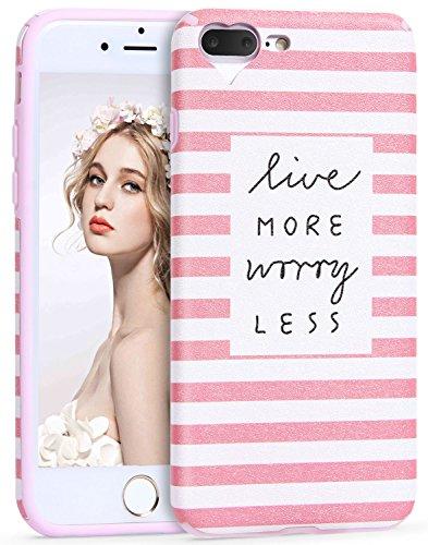 iPhone 7 Plus/8 Plus Hülle, Imikoko® iPhone 7 Plus/8 Plus Rundumschutz Handy Hülle Schutzhülle Weich Silikon TPU Case Super Sweet Cute für Girl Frauen Mädchen Rosa